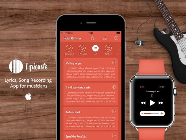 iPhone & Apple Watch App for Song Writers to create, edit